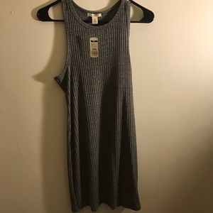 Ribbed Graphite Gray Fitted Dress